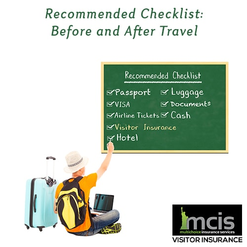 recommended checklist before and after travel
